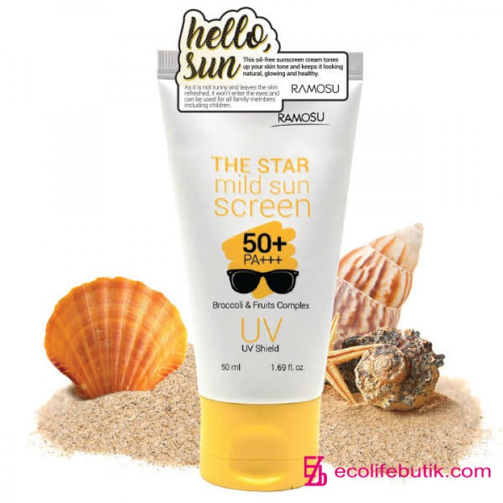 Крем для лица с защитой от солнца SPF50+, PA+++, RAMOSU THE STAR MILD SUNSCREEN.